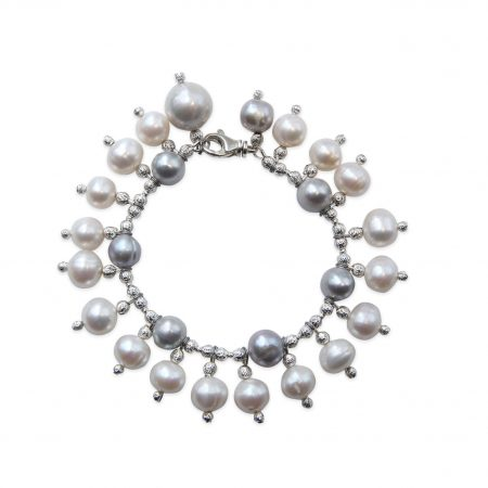 Grey Pearl Bracelet With White Pearl Drops & 1 Single Grey Drop