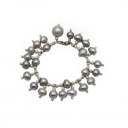 Freshwater Grey Pearl Bracelet With Large Grey Pearl Drops