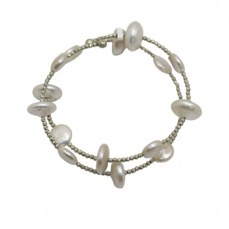 Memory Bracelet with Freshwater White Coin Pearls