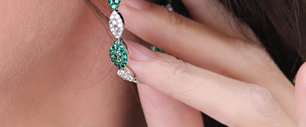Emerald and Diamond Hoop Earrings