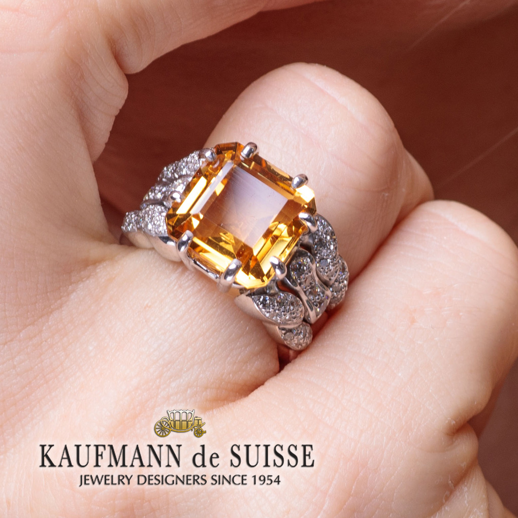 Flowing Lines Citrine Ring