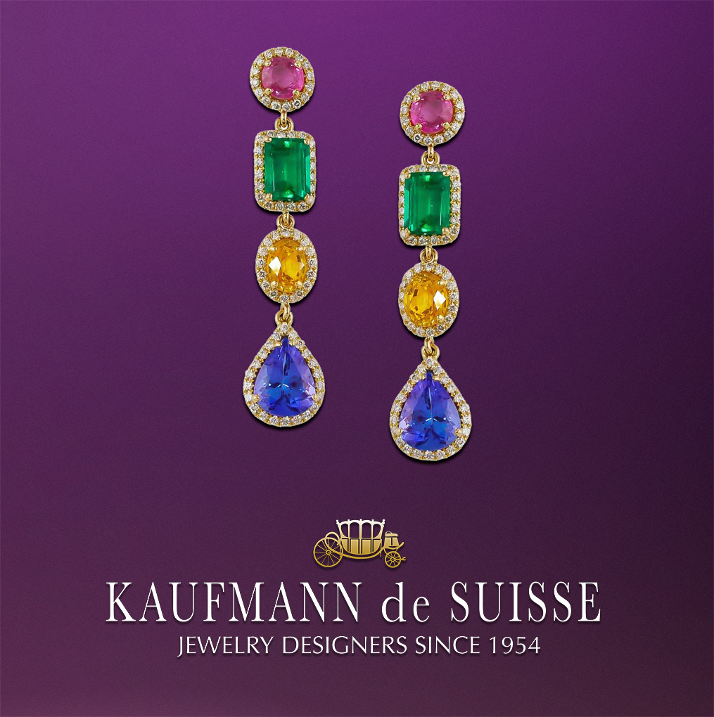 18K Sapphire, Emerald and Tanzanite Earrings