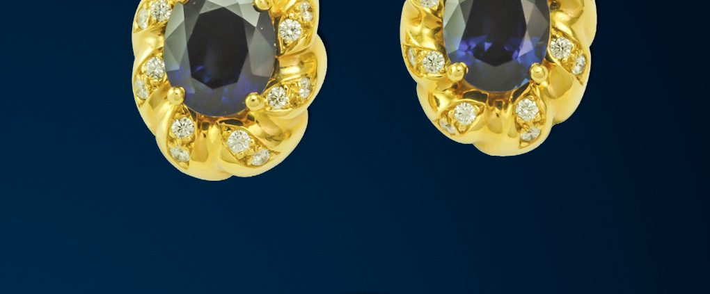 Flowing Lines Sapphire & Diamond Earrings