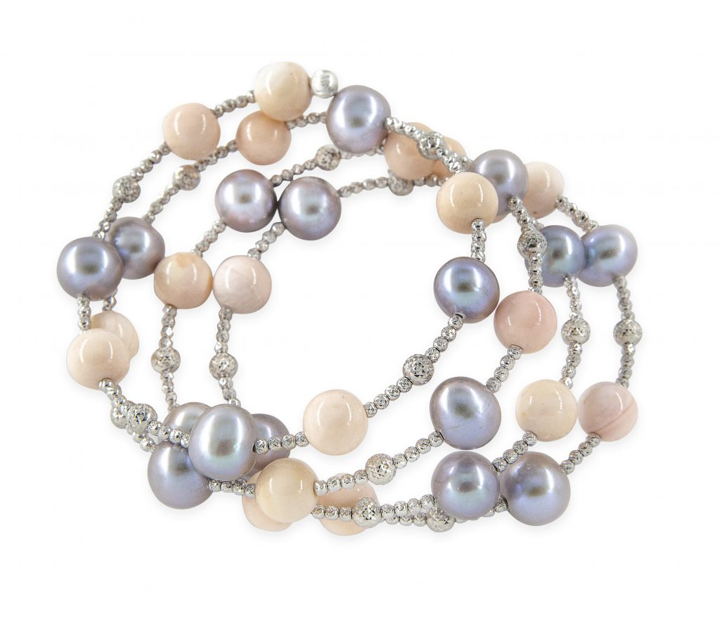 Freshwater Grey Pearls With Coral Beads Spiral Bracelet White Gold