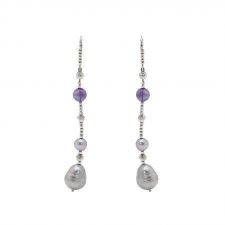 Amethyst and Grey Freshwater Pearl Earrings