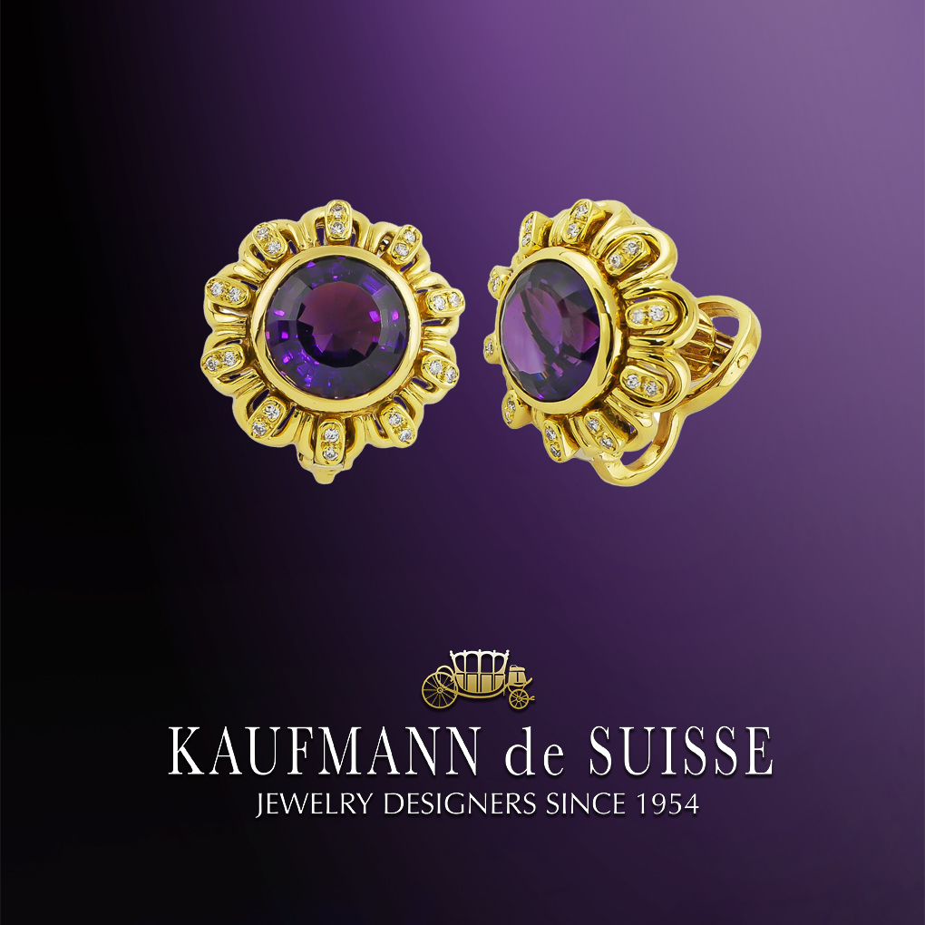 Bezel Set Amethyst and Diamond Earrings